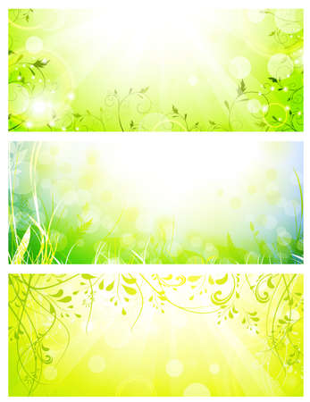 Set of green fresh sunny banners, size 720 x 300 px (large leaderboard) Stock Vector - 9562491