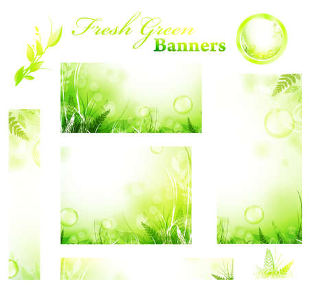 Set of green fresh sunny banners and eco elements Stock Vector - 9562490