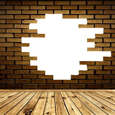 broken hole in the brick wall of room with wooden floor Stock Photo - 9562599