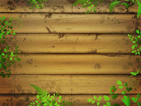 ladyfly: wooden background with green leaves and ladybugs