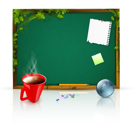 education theme: blackboard with message papers, pencil over green leaves; globe and cup of coffee near it Vector
