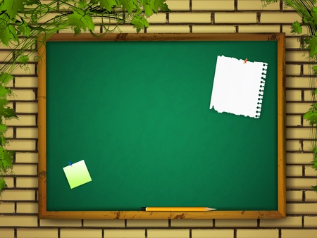 classroom supplies: blackboard with notes and pencil at brick wall over green leaves