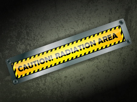warning sign about radiation area at grunge wall Vector