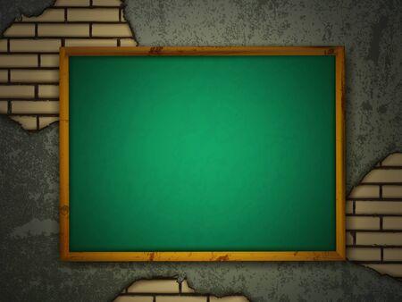 scratch board: School blackboard at grunge wall with brick holes