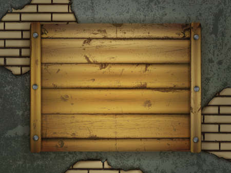 wooden board for messages with metal nails at grunge wall Vector