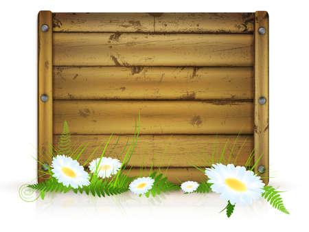 planche de bois pour les messages avec de l'herbe et de fleurs sur fond blanc Vecteurs
