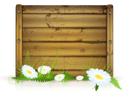 wooden board for messages with grass and flowers over white background Vector