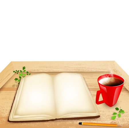 Opened book and cup of tea at wooden table, copyspace  Vector