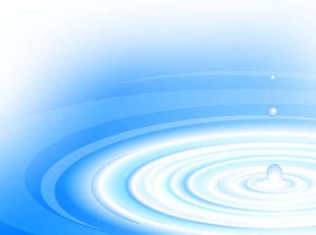 Waterdruppel raakt het blauwe oppervlak van het water