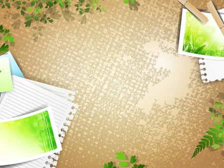 retro composition with photos at linen background over green leaves, copyspace Vector