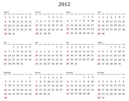 illustration of horizontal 2012 calendar template Stock Vector - 9930619