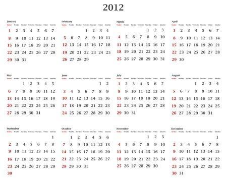 illustration of horizontal 2012 calendar template