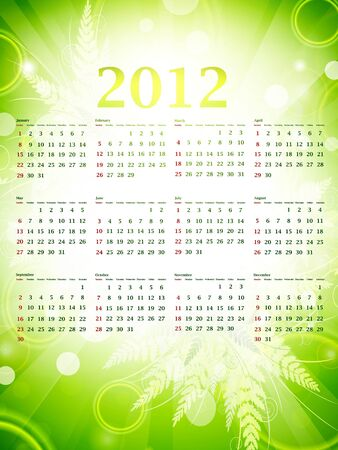 inch: Illustration of 2012 eco green wall calendar (size 11x17 inch) with nature decoration Illustration