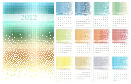 pixelate: illustration of 2012 standart wall calendar (size 11x17 inch) with multicolored pixelate decoration Illustration