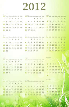 Illustration of 2012 eco green wall calendar (size 11x17 inch) with nature decoration Stock Vector - 9930622