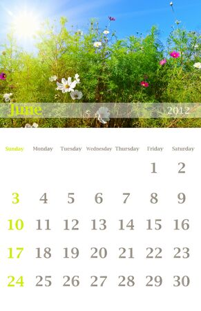 Page of 2012 June month wall calendar (size 11x17 inch) with seasonal nature photo photo