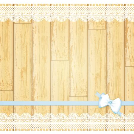 lace frame with bow at light wooden background Vector