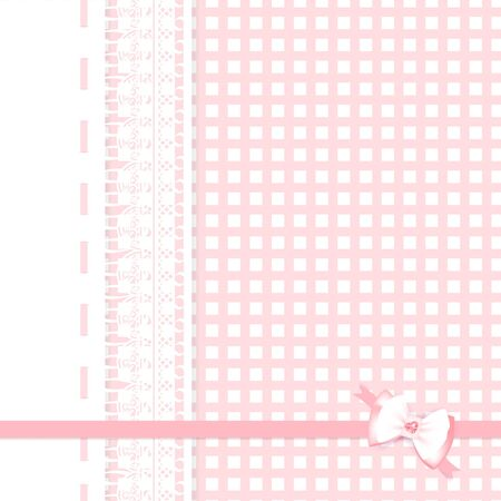lace frame with bow at pink plaid fabric background Vector