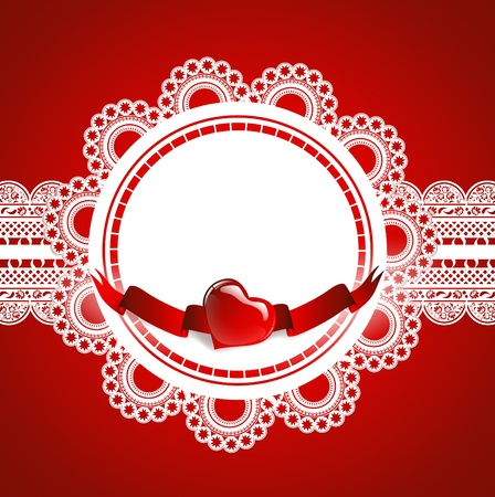 lacework: lace round frame with heart at red background