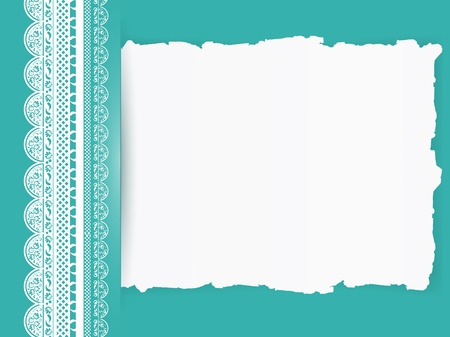 lace frame with torn paper at turquoise colour background  Vector