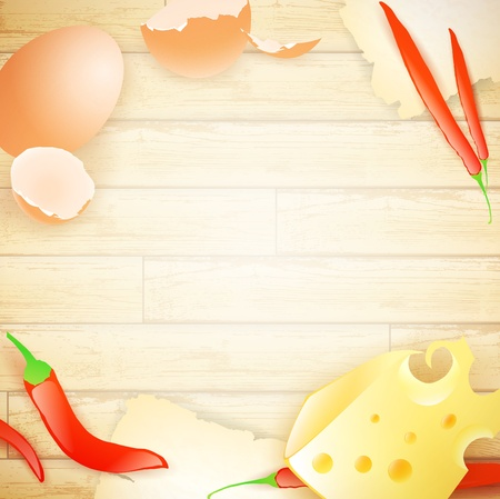 spicy chilli: some food elements (egg, cheese and pepper) at wooden background, copyspace
