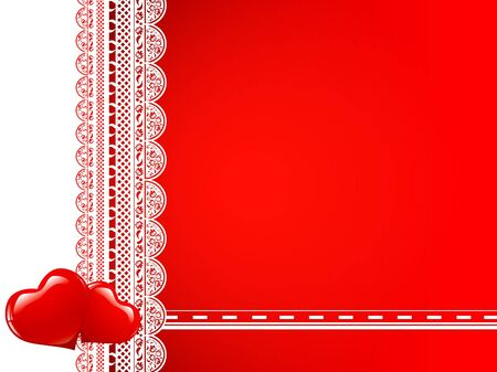 lace frame with hearts at red background  Vector