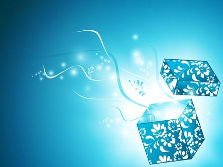 geopend magische geschenkdoos met florale decoratie over blauwe achtergrond