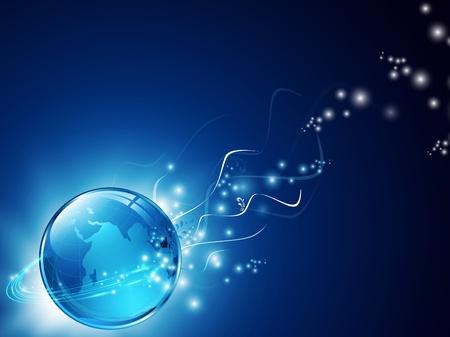 aarde met digitale vezels en florale decoratie over blauw Vector Illustratie
