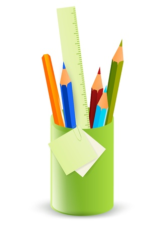 office stationery: Pencils in the stand over white background