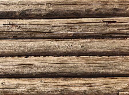 log wall: log background Stock Photo