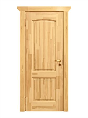 front entry: Closed wooden door against white background Stock Photo