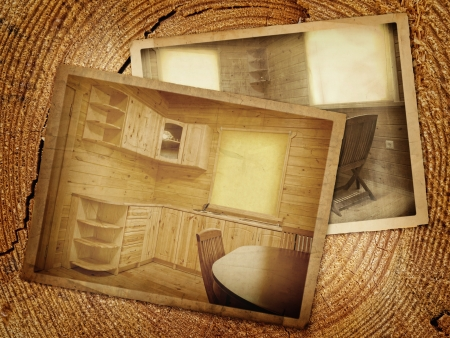 Old  stylized  kitchen over the wooden background Stock Photo - 17456677