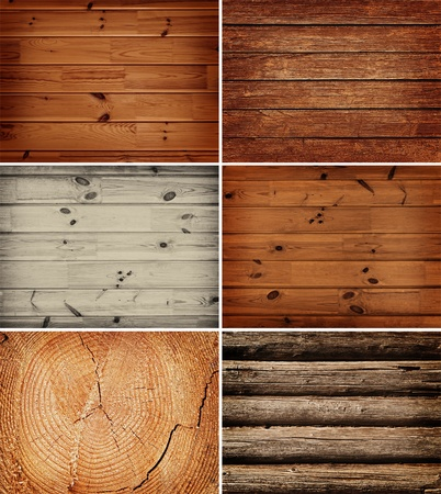 log wall: set of different wooden backgrounds Stock Photo