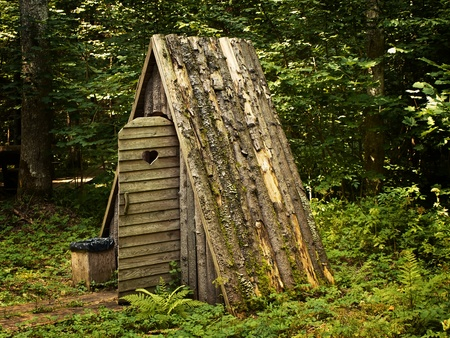 wooden toilet with opened door in the forest photo