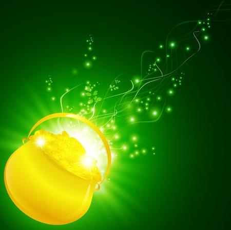 St.Patrick gouden pot met shamrock ingericht goud geld over magische achtergrond Stock Illustratie