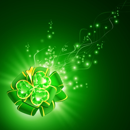 St.Patrick holiday green ribbon bow with emerald shamrock over magic background Vector