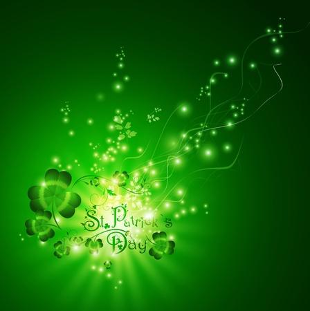Felicitación del día de St.Patrick con tréboles sobre fondo mágico