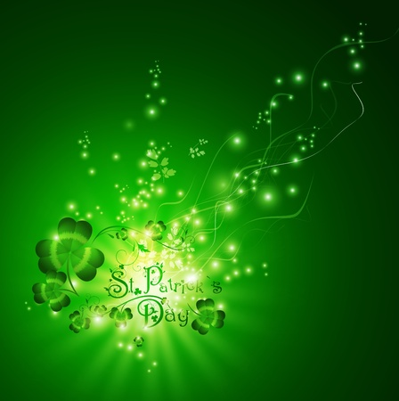 St.Patrick day greeting with shamrocks  over magic background Vector