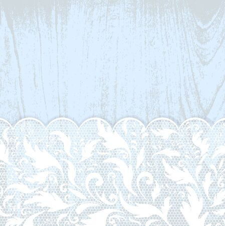 lace frame at blue wooden background Stock Vector - 10418367