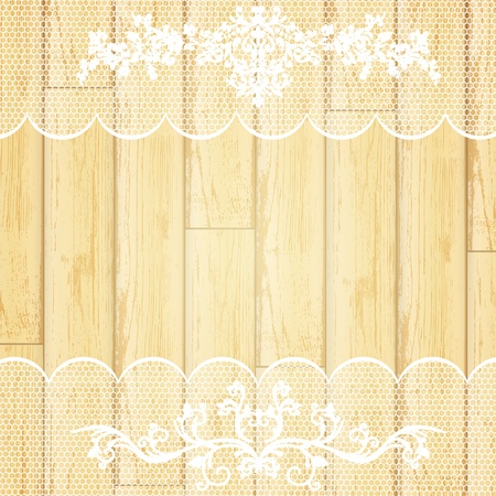 lace frame at light wooden background  Vector