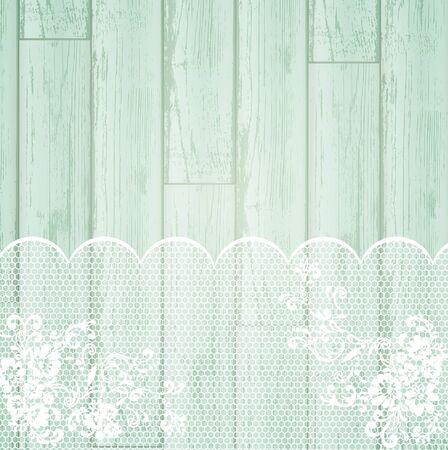 lace: fotograma de encaje en el fondo de madera claro  Vectores