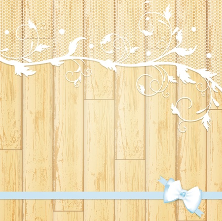 lace frame with blue bow at light wooden background  Vector