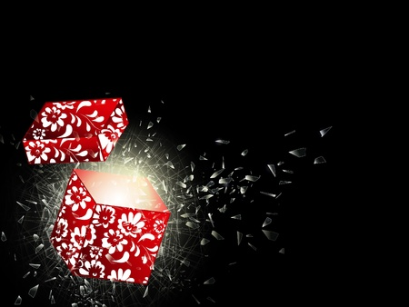 shatter: illustration of the broken glass and opened gift box, copyspace for your text