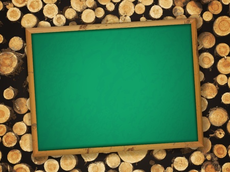 forestry: school empty blackboard at natural pine lumber background