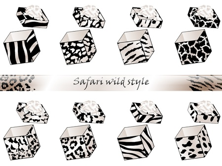 opened animal pattern gift box collection  Stock Vector - 10476152