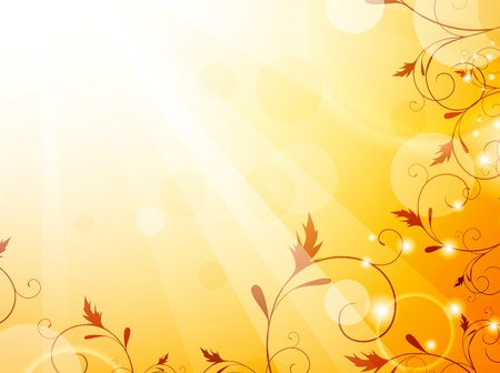 Autumn floral decorated bright background Stock Vector - 10476151