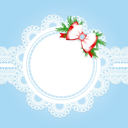embroidery on fabric: lace round frame with christmas decorative bow at blue background  Illustration