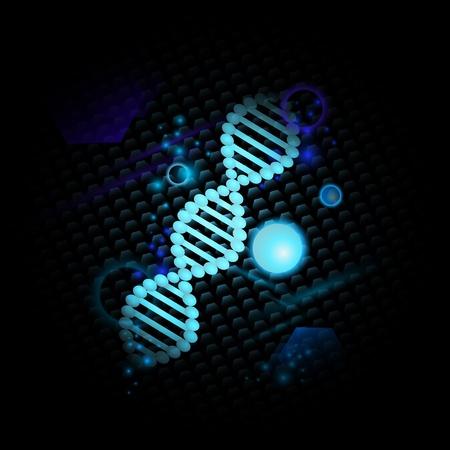 genetica: Tema di scienza con DNA su sfondo scuro Vettoriali