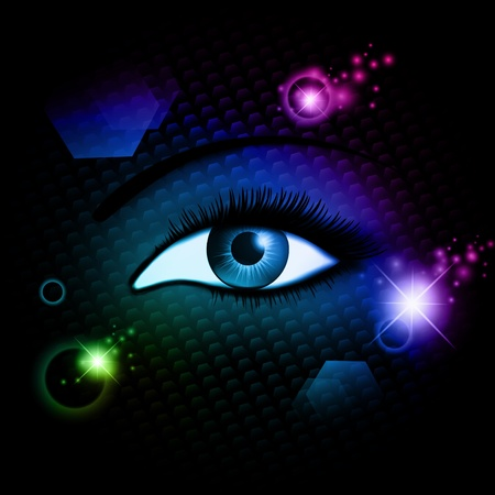 blue woman opened eye over dark abstract mystic background  Vector