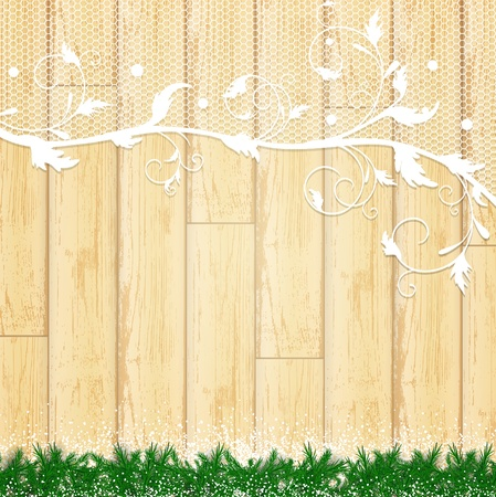 lace frame with pine branch and snow at wooden background  Vector